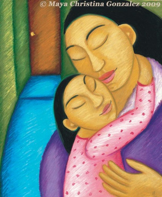 Mother and Daughter Embrace - Archival Art Print