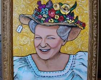 Minnie Pearl Original Painting with Beautiful Ornate Gold Frame