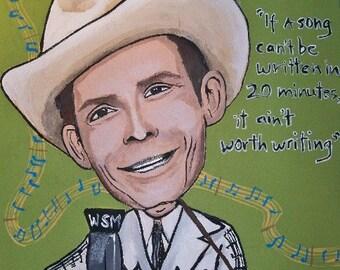 Original Acrylic on Wood Hank Williams