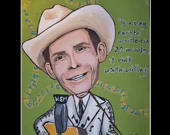 """Hank Williams 11x14"""" signed matted print"""