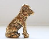 Vintage Golden Brass Dog Figurine