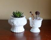 Vintage Milk Glass Planters - White Decorative Vases - Set of 2