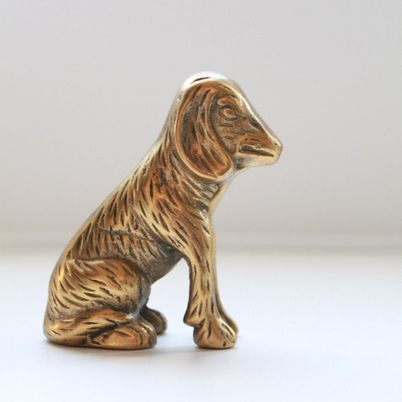 Vintage Golden Brass Dog Figurine