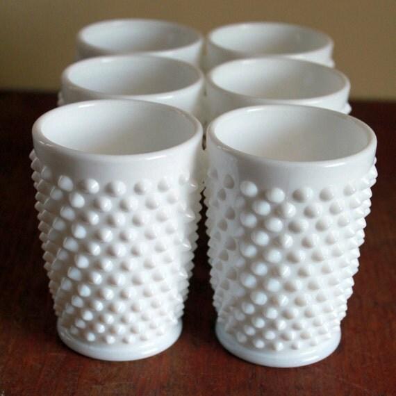 Vintage Hobnail White Fenton Glass Cups Set Of 6