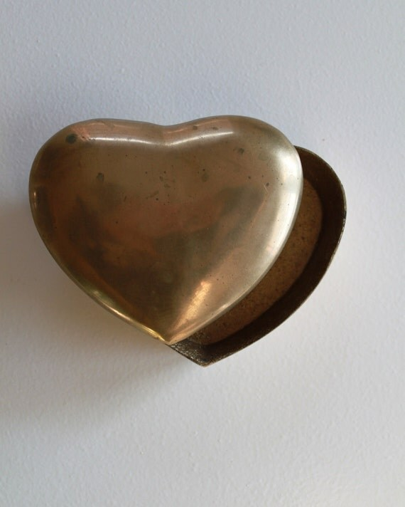 RESERVED FOR Shekinah Vintage Brass Heart Jewelry Trinket Box Paperweight
