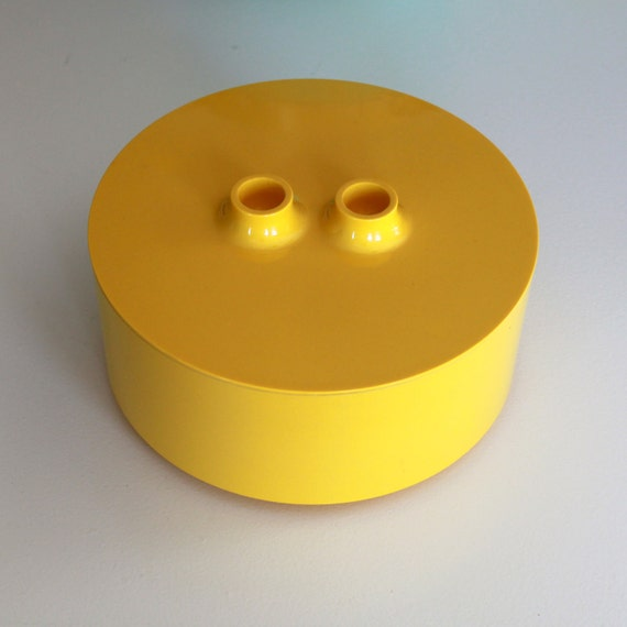 Mod Plastic Heller Vignelli Yellow Container with Lid