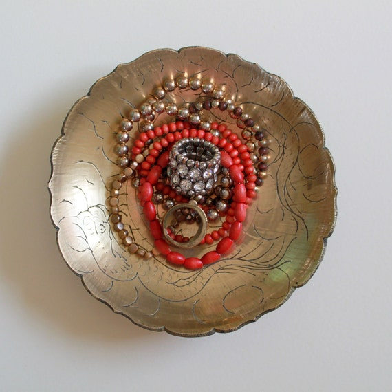 Vintage India Brass Jewelry Tray Pedestal Dish