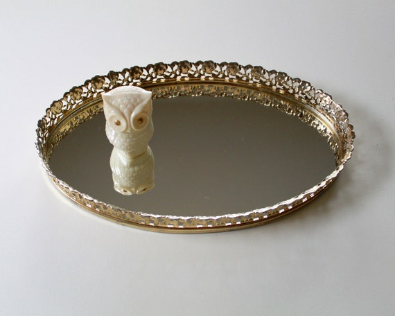 Vintage Golden Oval Vanity Mirror Tray