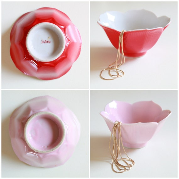 Vintage Lotus Red & Pink Bowls -  Jewelry Dish Made in Japan