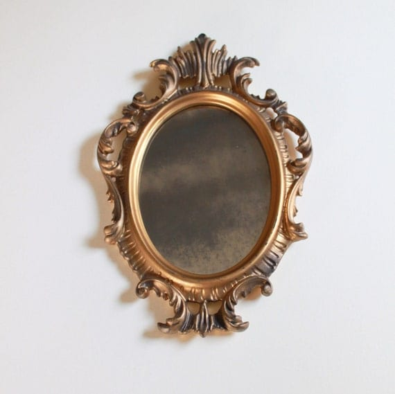 Vintage Smoked Glass Golden Mirror - Hollywood Regency Wall Decor