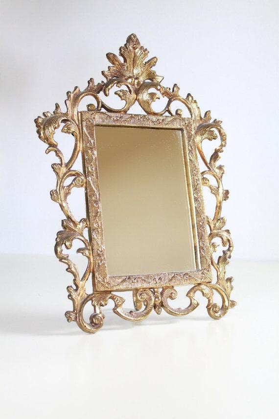 Vintage Golden Vanity Mirror Stand - Hollywood Regency Wall Mirror