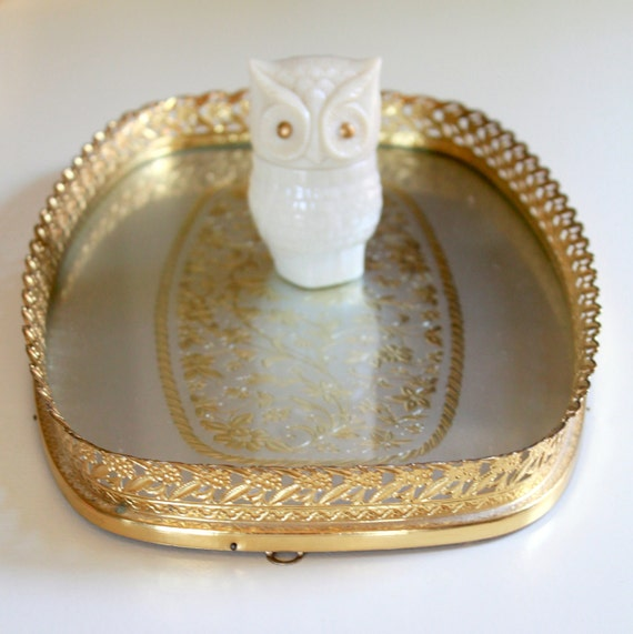 Vintage Golden Metal Vanity Tray