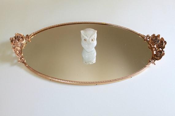 Vintage Large Vanity Oval Mirror Tray - Golden Roses Frame