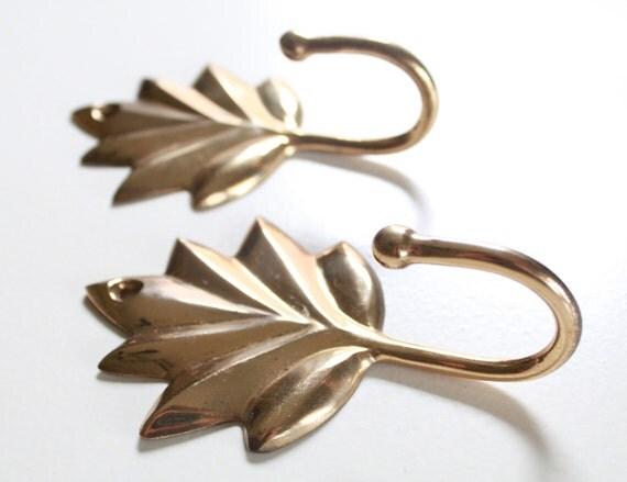 Vintage Golden Brass Leaf Shape Hangers - Set of 2 Jewelry Hooks