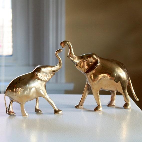 Vintage Golden Brass Elephant Figurines - Baby Room Decor