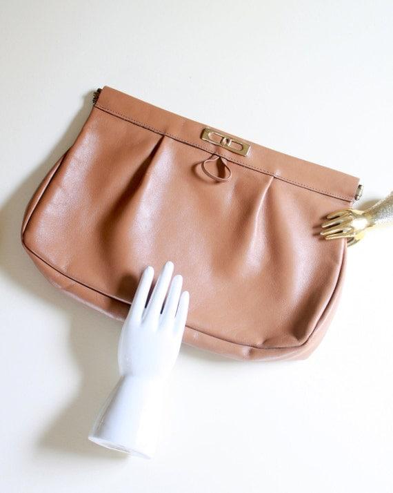 Vintage Caramel Brown Leather Handbag - Clutch - Purse