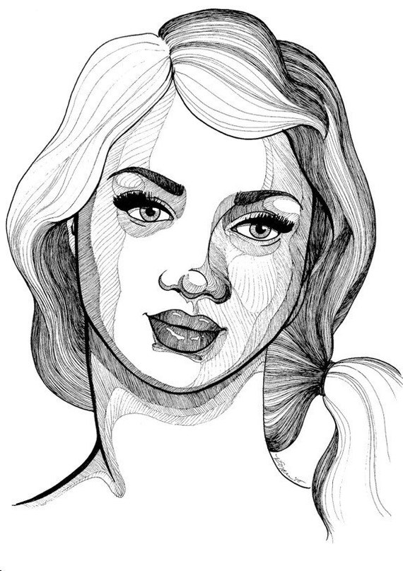 Pretty Face Drawing Ink Pretty Face Portrait