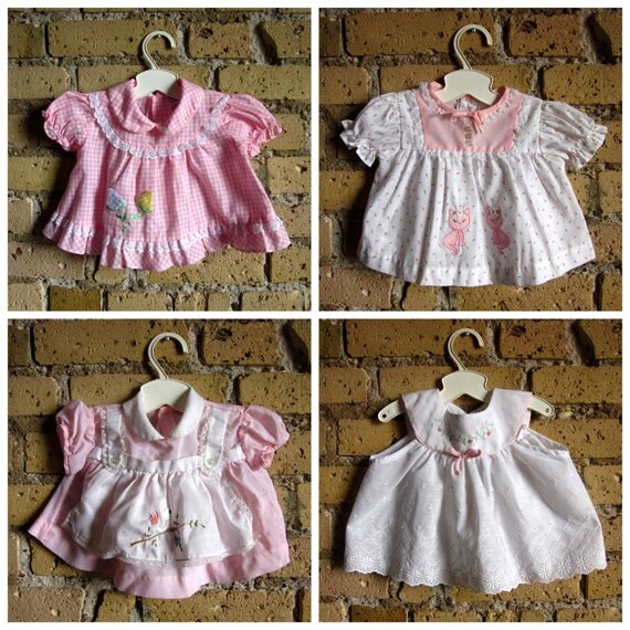 Reserved for Mimi / sale // Baby Dresses 80s / size 6M / Set of 4