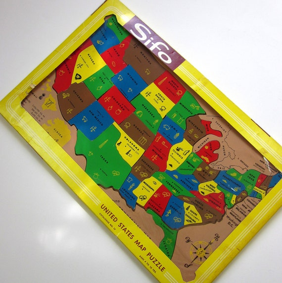 Vintage Sifo United States Map Puzzle / Complete