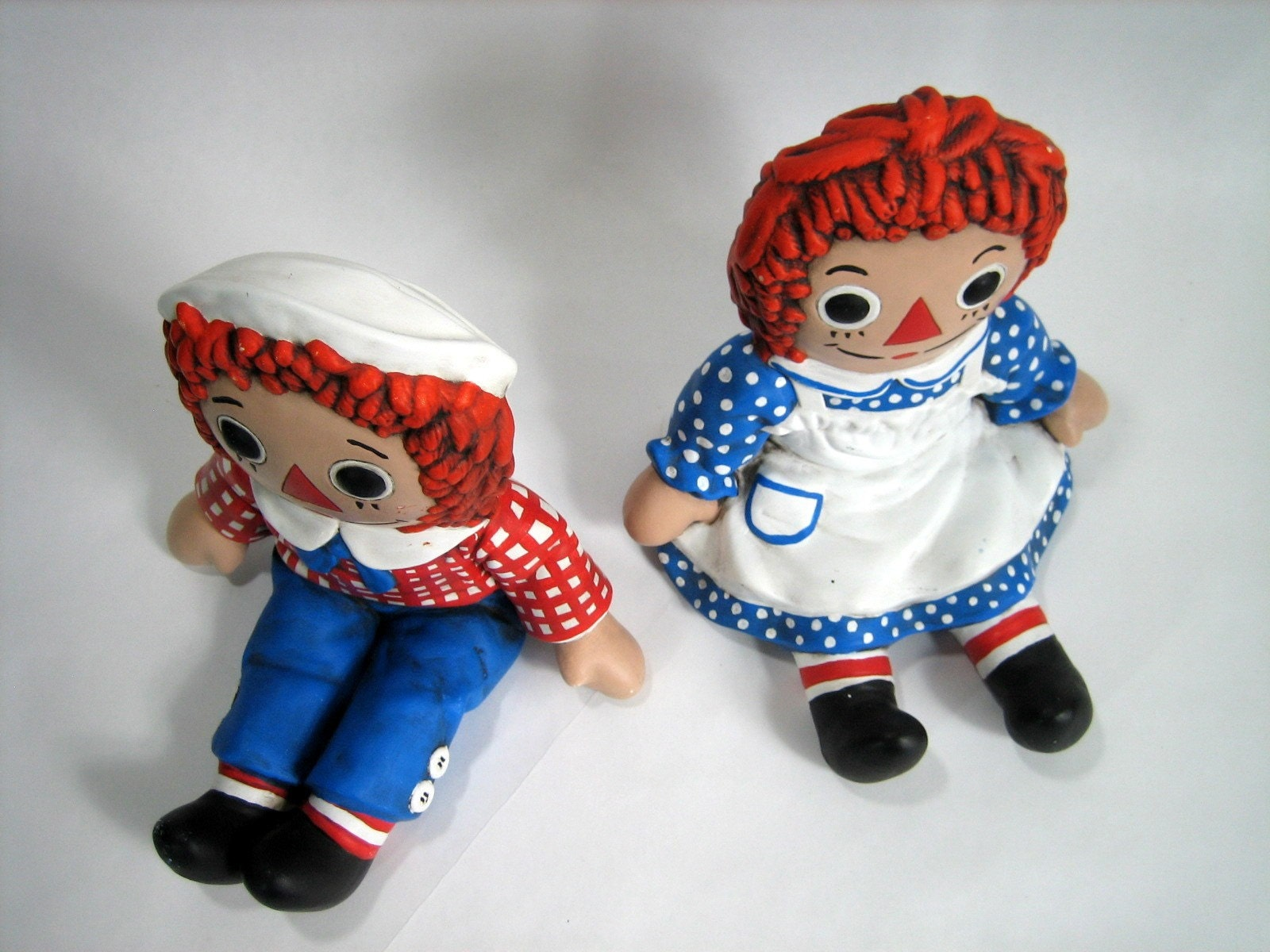 Raggedy Ann And Andy Chalkware Bookend By Attyssproutvintage