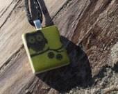 Olive Green Owl - Scrabble Tile Pendant