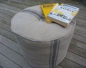 Linen Pouffe - toast with navy block printed stripes