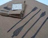 Linen tea towel dish cloth arrows archery block print (black on ginger)