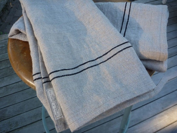 Linen tea towel - toast with stitched black stripes