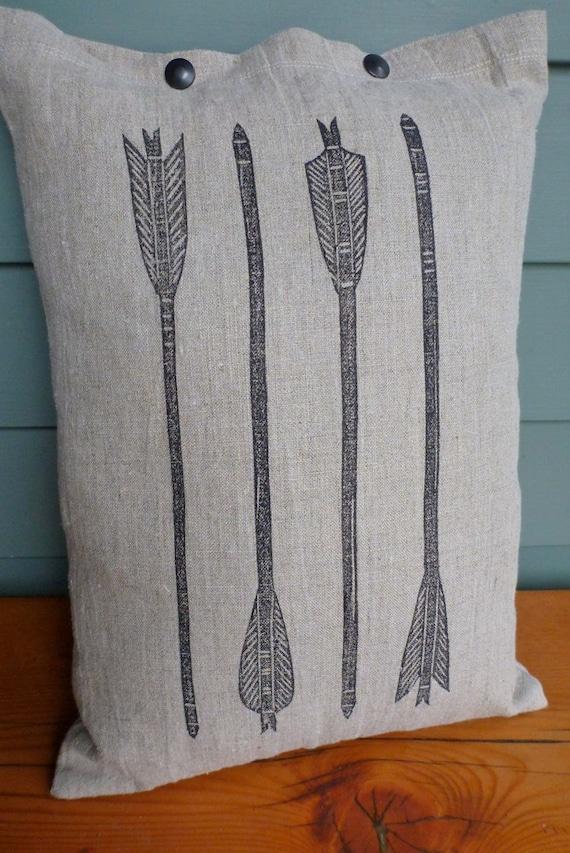 pillow cushion linen arrows archery block print  (graphite on toast)