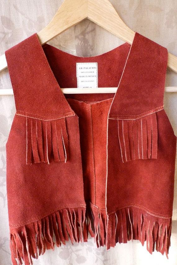 vintage suede leather fringe vest Western wear