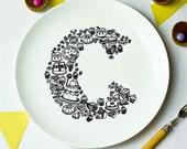C for Cake Alphabet Plate (Black)