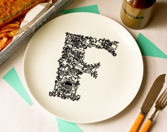 F for Fish and Chips - Alphabet Ceramic Plate (Black)
