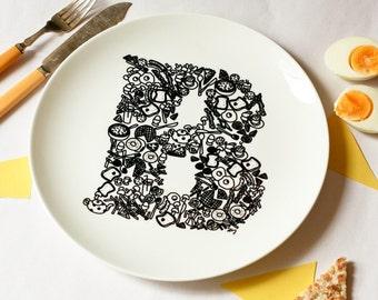 B for Breakfast - Alphabet Ceramic Plate (Black)