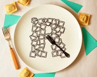R for Ravioli - Alphabet Ceramic Plate