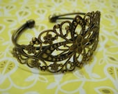 2 Pcs Antique Brass W/Filigree Cuff Bracelet.Nickel Free