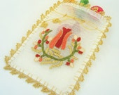 Gift Lavender Sachet. Eco-Friendly Raw Silk  Turkish Motif Embroidered