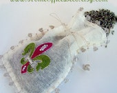 Eco Friendly Hand Embroidery Raw Silk Lavender Sachet Jewelry Pouch Fleur de Lis