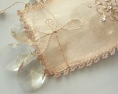 Eco-friendly gift - lavender pouch- sachet silver wire embroidered raw silk handmade