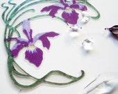 Sun catcher crystal window charm purple iris handmade spring easter home decor