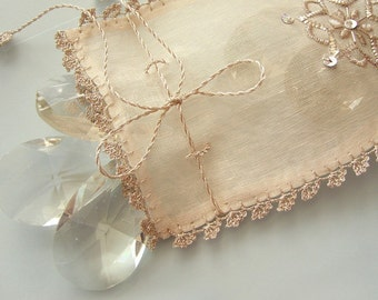 Eco-friendly Gift, Pure Natural Raw Silk Gift Pouch, Lavender Sachet, Silver Wire Hand Embroidery, Handmade, Unique Gift