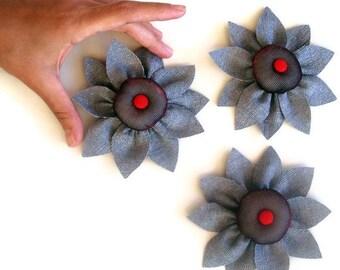 Gray Flower Magnets, Cozy Fabric Sunflower, Set of 3, Handmade Kithchen Home Decor