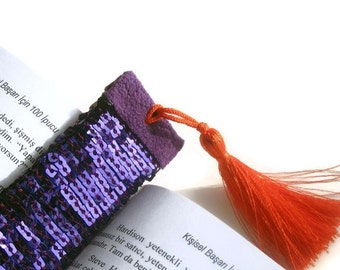 Gift for Book Lovers, Bookmark, Purple Sequined, Orange Tassel Handmade Crafts Bibliophile Book Lovers Gift