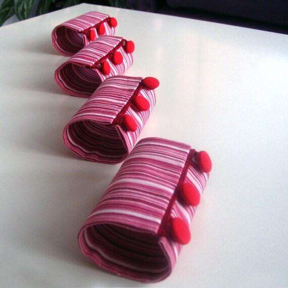 Napkin Rings Holder Slim Striped Handmade Spring Table Decor