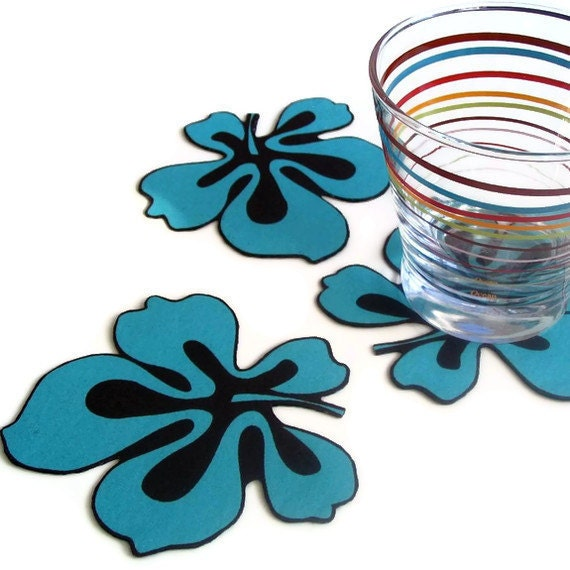 Turquoise flower coasters table charm handmade set of 3 unique