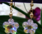 14K Gold Filled Swarovski Crystal Flower Earrings 14mm Wire Wrapped 925 Silver Choose cols Bridesmaids, Bridal, Gift