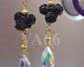14KGF Swarovski Teardrop Black Crystal AB Earrings 925 Silver Bridal Earrings for Bridal Shower, Birthday Present