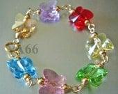 Baby Butterfly Crystal Bracelet 14K Gold Filled 925 Sterling Silver color Choices Swarovski Crystal Bracelet Flower Girl Baby Shower
