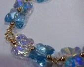 Wire Wrapped 14K Gold Filled Swarovski Crystal Bridal Bracelet 12 Colors Butterfly 925 Silver Bridesmaids, MOB, flower girl, prom, Birthday