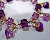 Purple Amethyst 14K Gold Filled Swarovski Crystal Cube Love Charm Bracelet 24 Color Choices 925 Silver choice, Bridesmaids, MOB, Gift, Prom