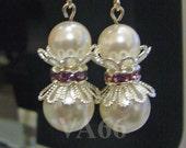 Bridal Pearl Earrings with Amethyst Rhinestone Separator Swarovski White Pearls Colors Bridesmaids, Flower Girl, Christmas, Children